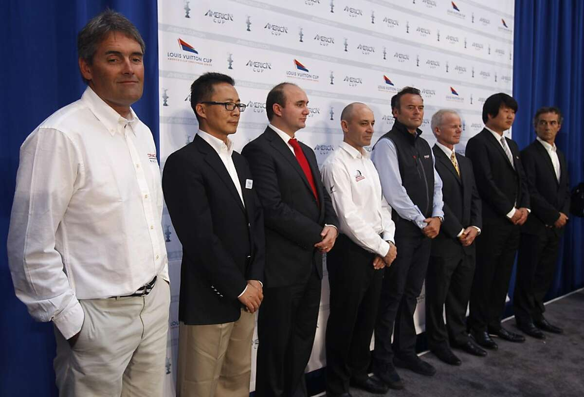Russell Coutts (left), CEO of the defending Oracle Racing team, stands with representatives from seven other international sailing teams in San Francisco, Calif. on Wednesday, June 15, 2011, that will compete for the 34th America's Cup in 2013. Standing with Coutts are (from left) Wang Chaoyong from China Team, Dario Valenza from Venezia Challenge (Italy), Kevin Shoebridge of Emirates Team New Zealand, Philippe Ligot from Aleph (France), Terry Hutchinson from Artemis Racing (Sweden), Kim Dong-Young from Team Korea and Bruno Peyron from Energy Team (France).