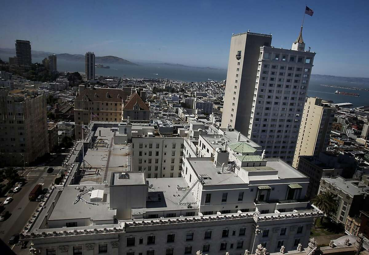 A view from the Mark Hopkins Hotel shows the Fairmont in foreground and the Fairmont tower at left. The Fairmont Hotel, one of the most famous hotels in San Francisco, Calif is being put up for sale.