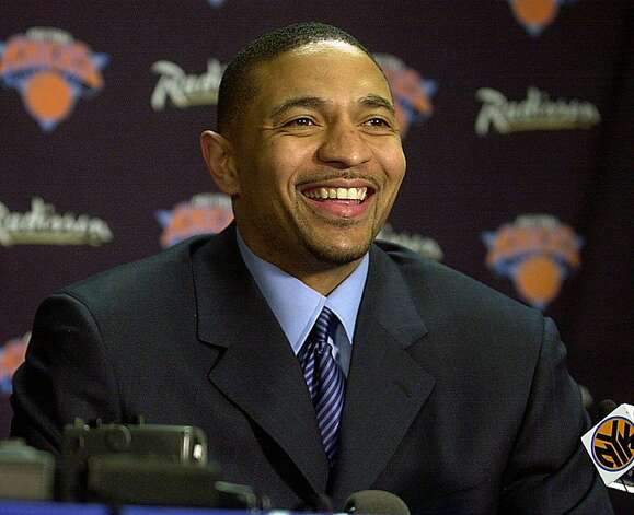 In this  Feb. 23, 2001 file photo, New York Knicks' Mark Jackson speaks at a news conference before a game against the Phoenix Suns at Madison Square Garden in New York. The Golden State Warriors have hired television analyst Jackson as their new head coach.The team announced the decision to have Jackson replace Keith Smart on Monday June 6, 2011. Photo: Ed Betz, AP