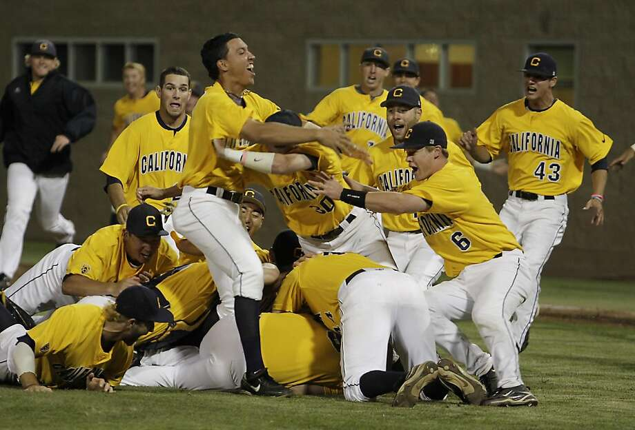 Cal baseball players pile on each other  to celebrate after beating Dallas Baptist  in the NCAA baseball playoffs at Stephen Schott Baseball Stadium in Santa Clara, Calif., on June 12th,  2011. Photo: John Storey, Special To The Chronicle