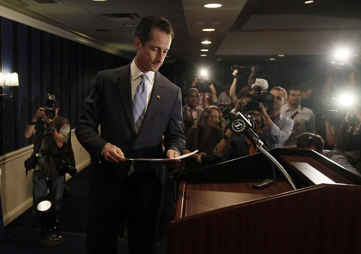 U.S. Rep. Anthony Weiner, D-N.Y., arrives for a news conference in New York, Monday, June 6, 2011. After days of denials, a choked-up New York Democratic Rep. Anthony Weiner confessed Monday that he tweeted a bulging-underpants photo of himself to a young woman and admitted to