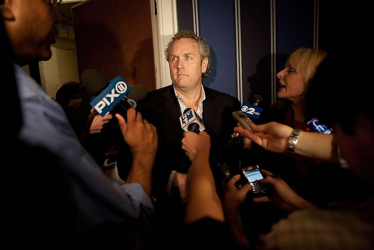 NEW YORK, NY - JUNE 06: Andrew Breitbart, who runs BigGovernment.com, speaks to members of the media before a press conference held by Rep. Anthony Weiner (D-NY), in which Weiner both admitted to having numerous sexual relationships online while married,and apologized to Breitbart, at the Sheraton Hotel on 7th Avenue on June 6, 2011 in New York City. Breitbart, whose publication was one of the first to break the story of Weiner's sexual conduct, was accused of lying.