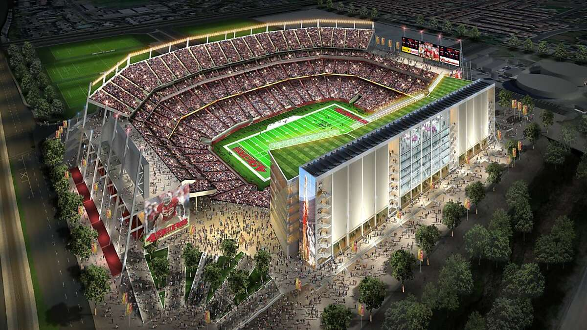 This is an illustration depicting the proposed new San Francisco 49ers stadium in Santa Clara.