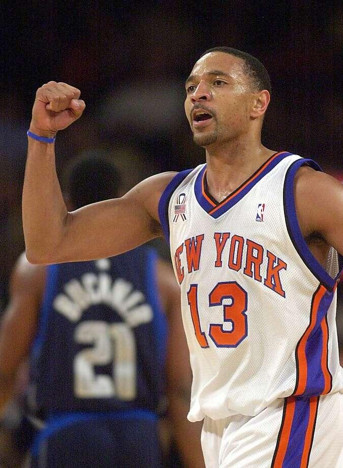 New York Knicks; Mark Jackson reacts in the second half against the Dallas Mavericks Thursday, Jan. 3, 2002 in New York. The Knicks won 108-101 in overtime. (AP Photo/Mark Lennihan)