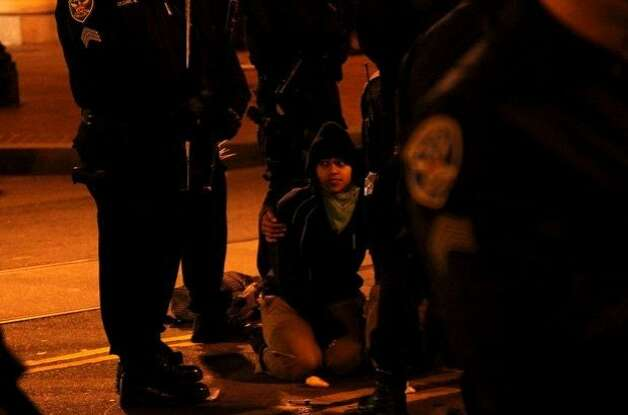 San Francisco Police dismantled the 2-month old Occupy SF encampment early this morning in Justin HermanPlaza. Photo: John Osborn, Mission Local