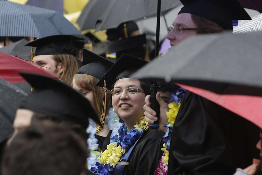 Paula Villescaz looks over the crowd assembled at the Greek Theater for the UC Berkeley political science department graduation before the start of the graduation ceremony in Berkeley, Calif., Monday, May 16, 2011. Photo: Lea Suzuki