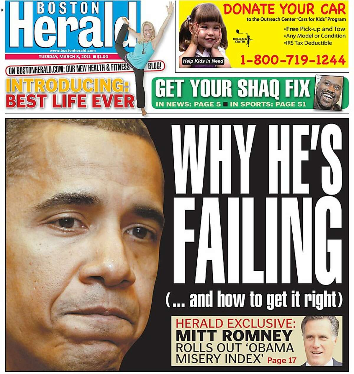 The March 8, 2011 front page of Boston Herald.