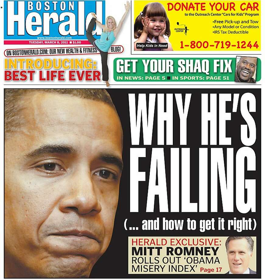 The March 8, 2011 front page of Boston Herald. Photo: Boston Herald