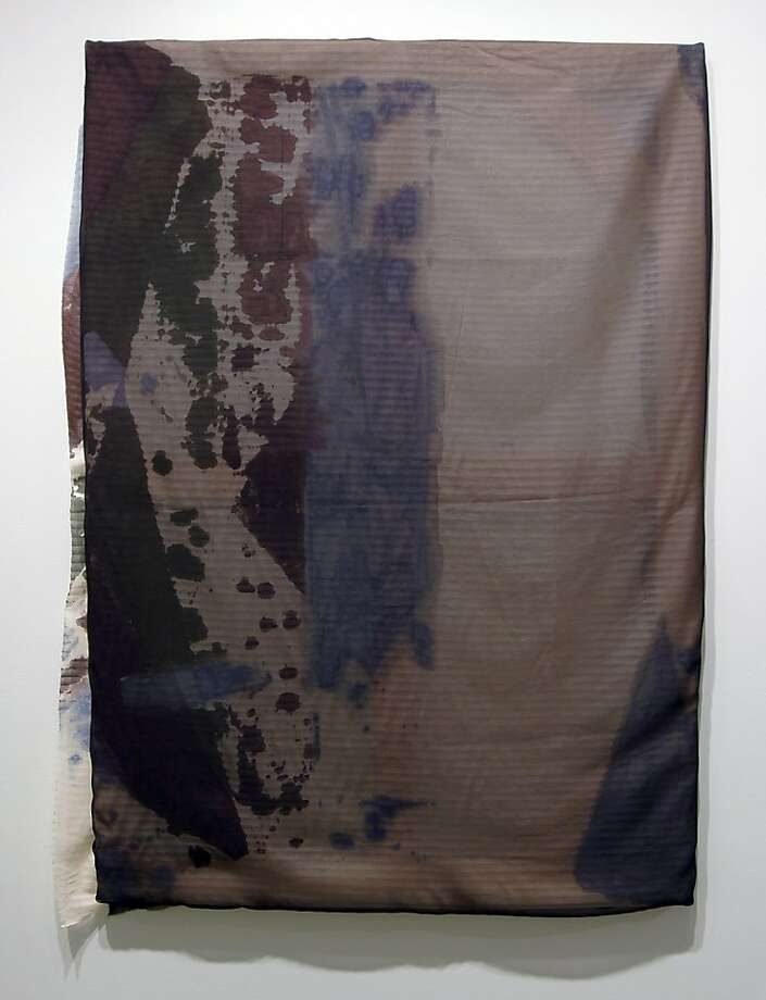 """""""Untitled [LE 5035-1]"""" (2011) acrylic, salt, alcohol, silk and polyester on wood stretcher by Liam Everett Photo: Unknown, Romer Young Gallery, S.f."""