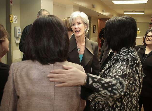 U.S. Health and Human Services Secretary Kathleen Sebelius  visits with staff at the San Francisco General Hospital Geriatric ward in San Francisco, Calif., on May 10th,  2011. Photo: John Storey, Special To The Chronicle