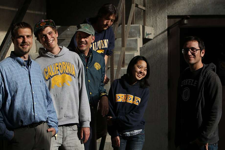 UC Berkeley Engineering students from left to right, Kier Garcia, Dominic Molinari, Steven Bosiljevac, a professional Civil Engineer and mentor to the students, Philippe Decorwin-Martin, Janice Chang, and Jared Dozal, stand outside O'Brien Hall on the UC Berkeley campus in Berkeley, CA  on Thursday, June 2, 2011. Molinari, founder of the Berkeley student chapter of Engineers Without Borders, Decorwin-Martin, Dozal, and Bosiljevac, are traveling to Peru for Engineers Without Borders this month to begin a five-year project to rid the water of arsenic in two rural Andean communities. Photo: Erin Lubin, Special To The Chronicle