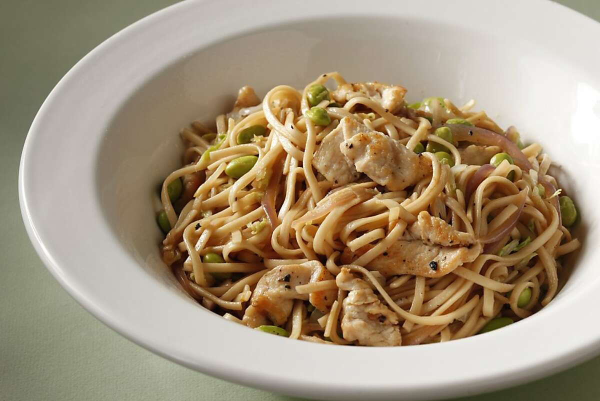 Chicken, edamame & noodle stir-fry, adapted from Fresh Flavor Fast, by Everyday Food, from the Kitchens of Martha Stewart Living.