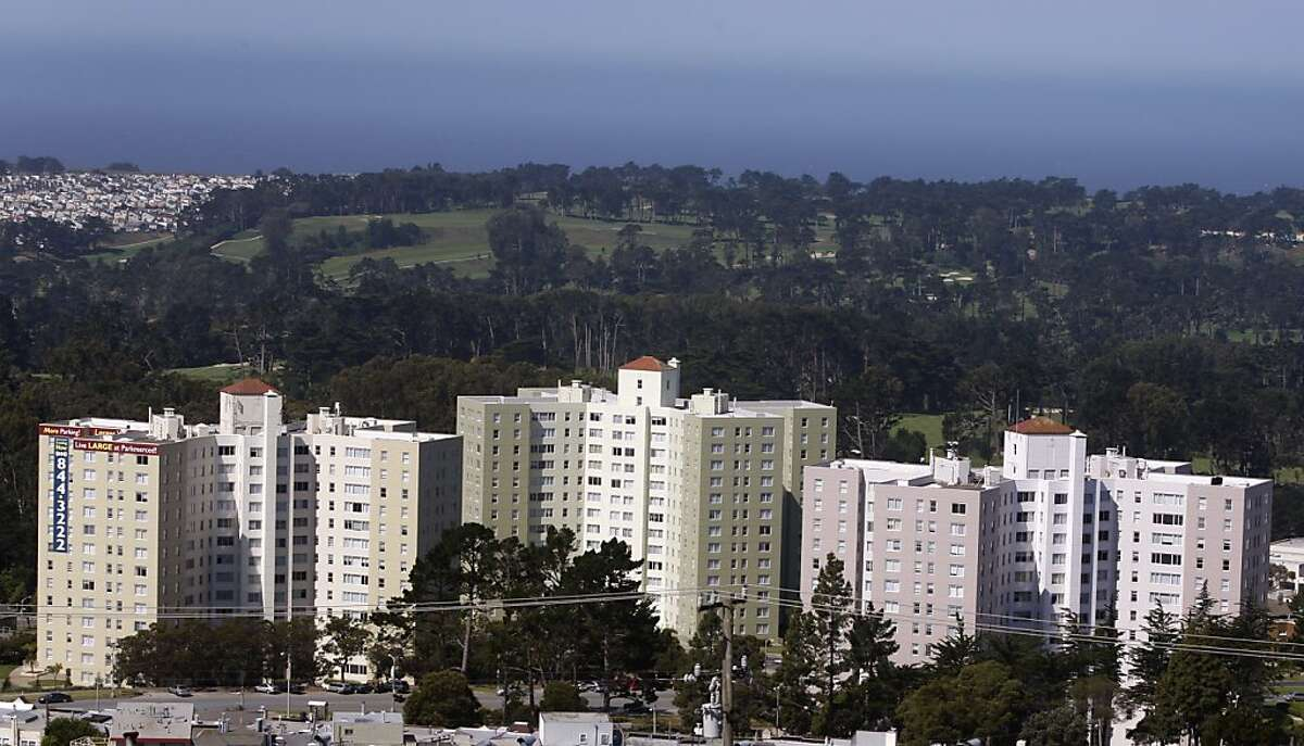 Apartment buildings are seen at the Park Merced neighborhood in San Francisco, Calif., on Thursday, June 10, 2010. Owners of the sprawling complex of houses and high-rise buildings plan to proceed with a $1.2 billion renovation project despite defaulting on their mortgage.