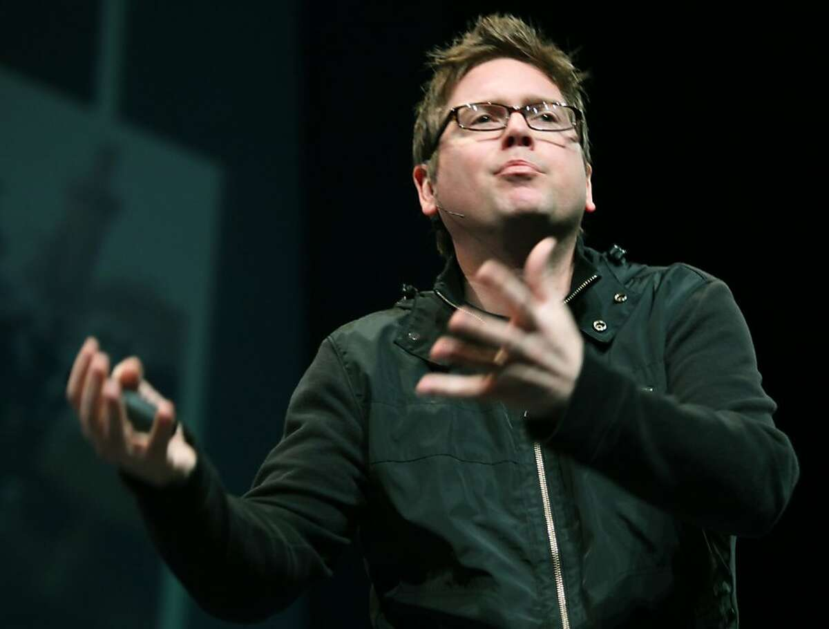 Twitter co-Founder Biz Stone giving a keynote at the first Twitter developer's conference at the Palace of Fine Arts Theatre in San Francisco, Calif., on Wednesday, April 14, 2010.