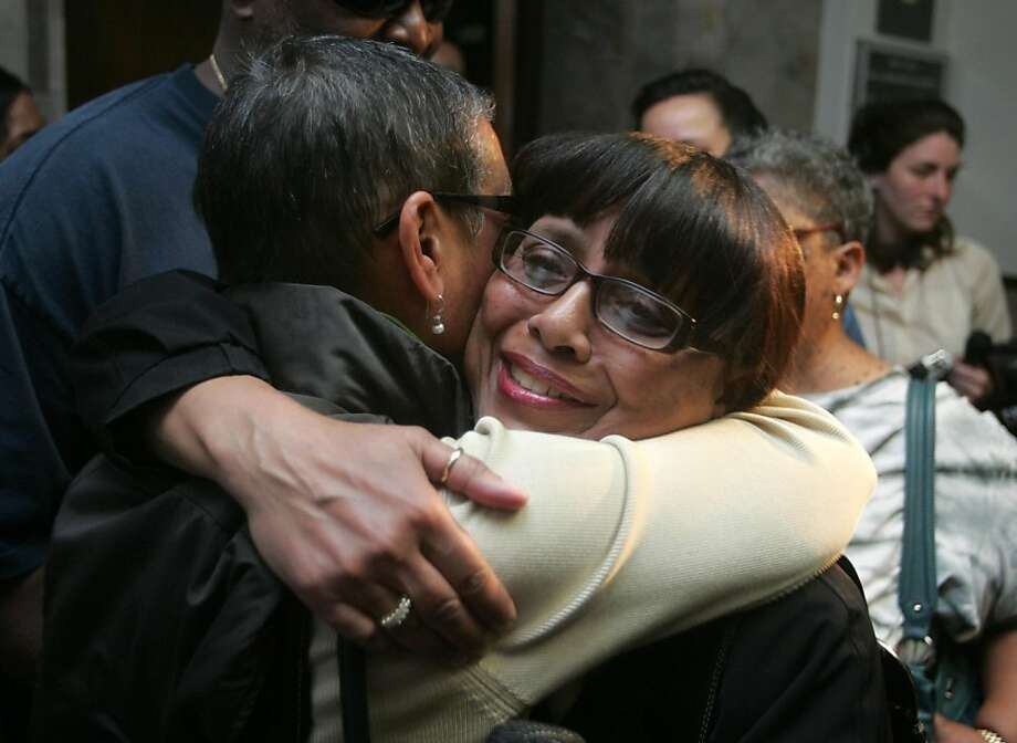 Wendy Ashley-Johnson, right, and Donna Duhe, cousins of Chauncey Bailey, hug after a jury convicted Yusuf Bey IV and Antoine Mackey of first degree murder of Bailey on Thursday, June 9, 2011 at the Alameda County Courthouse in Oakland, Calif. Photo: Mathew Sumner, Special To The Chronicle