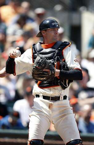 San Francisco Giants' Chris Stewart catches during the 9th inning as the San Francisco Giants take on the Florida Marlins at AT&T Park in San Francisco, Calif., on Thursday, May 26, 2011. Photo: Thomas Levinson, The Chronicle