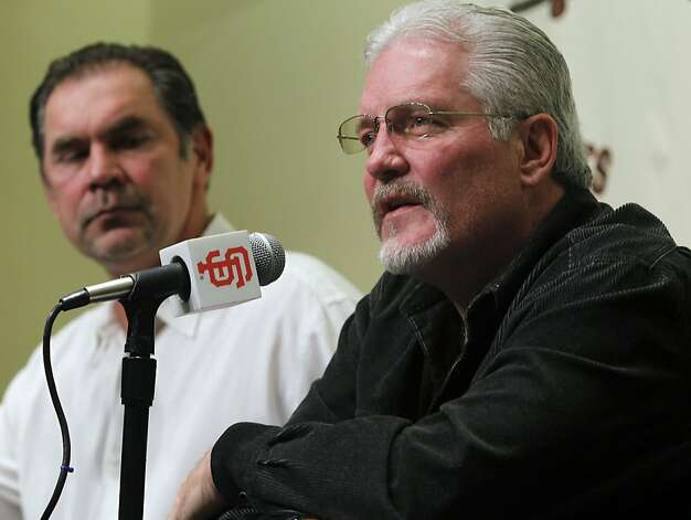 Giants manager Bruce Bochy and general manager Brian Sabean discuss the team's off-season plans after its World Series championship at AT&T Park on Friday, Nov. 5, 2010. Photo: Paul Chinn, The Chronicle