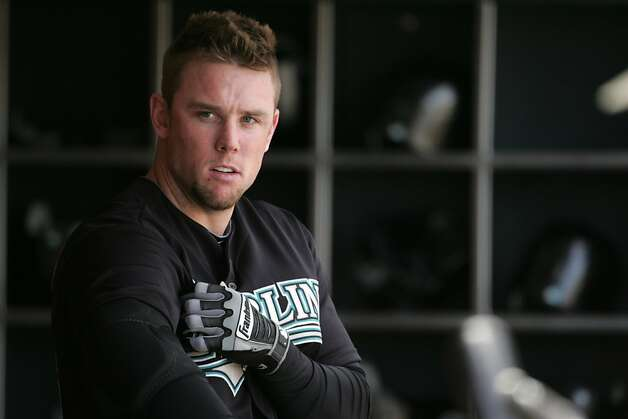 Florida Marlins player Scott Cousins stayed off the field   on Thursday, May 26, 2011 in San Francisco after his collision with Giants' catcher Buster Posey on Wednesday night. Photo: Mathew Sumner, Special To The Chronicle
