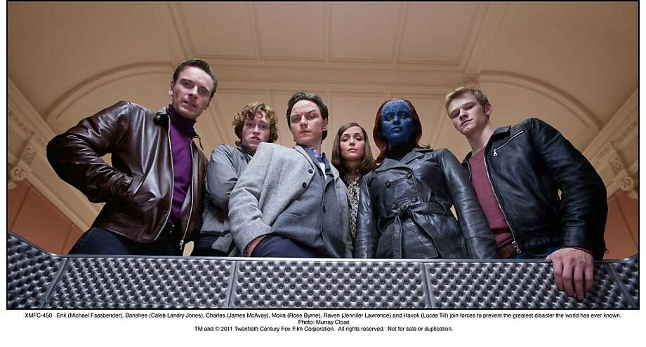 Erik (Michael Fassbender), Banshee (Caleb Landry Jones), Charles (James McAvoy), Moira (Rose Byrne), Raven (Jennifer Lawrence) and Havok (Lucas Till) join forces to prevent the greatest disaster the world has ever known. Photo: Photo: Murray Close,  Twentieth Century Fox
