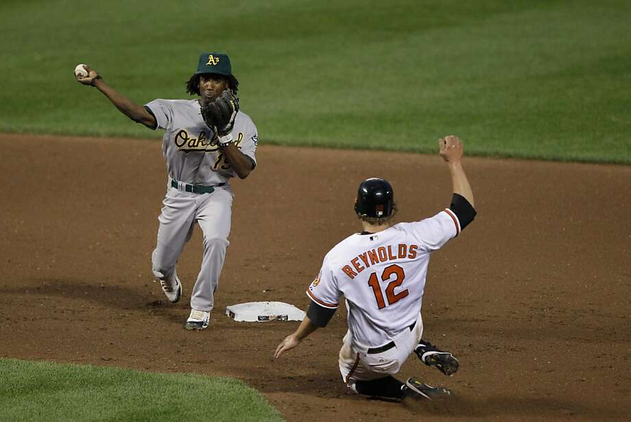 Jemile Weeks #19 of the Oakland Athletics forces out Mark Reynolds #12 of the Baltimore Orioles at second base but fails to turn the double play during the fifth inning at Oriole Park at Camden Yards on June 7, 2011 in Baltimore,Maryland. Photo: Rob Carr, Getty Images