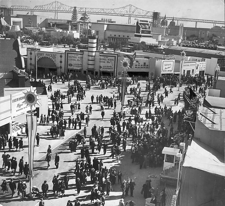 Feb. 19, 1939 _ Expo Gayway at Golden Gate International Exposition held at Treasure Island. The Laugh Seekers' Mecca:  This fun zone was thronged with sightseers and pleasure seekers.  they Gayway will roar for 287 more days and nights.  A Fair means fun and fun means Gayway as far as Treasure Island visitors are concerned. Timeline_144