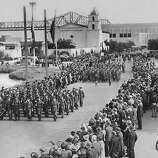 Oct. 1, 1939 - Thousands witnessed this spectacular parade which climaxed San Francisco Day at Golden Gate International Exposition .  Special Days at Treasure Island.   .