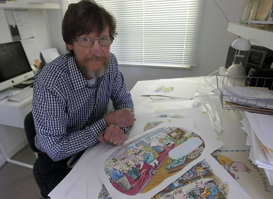 """Cartoonist Mike Twohy works in the studio at his home in Kensington, Calif. on Friday, May 20, 2011. Twohy just published his first children's book, """"Poindexter Makes a Friend."""" Photo: Paul Chinn, The Chronicle"""