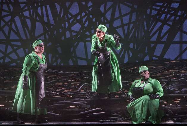 "Heidi Melton (l.), Daveda Karanas and Ronnita Miller as the Norns in Wagner's ""G?tterd?mmerung"" at SF Opera Photo: Cory Weaver"