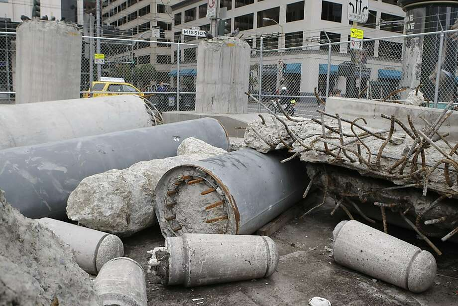 Salvaged pieces of the old Transbay Terminal are now piled on the corner of Mission St and Fremont St in San Francisco, Calif. in preparation for artist Tim Hawkinson's 40-foot-tall sculpture. The sculpture will stand on the same corner at the front of the new Terminal.  Photographed on Friday, June 3, 2011. Photo: Audrey Whitmeyer-Weathers, The Chronicle