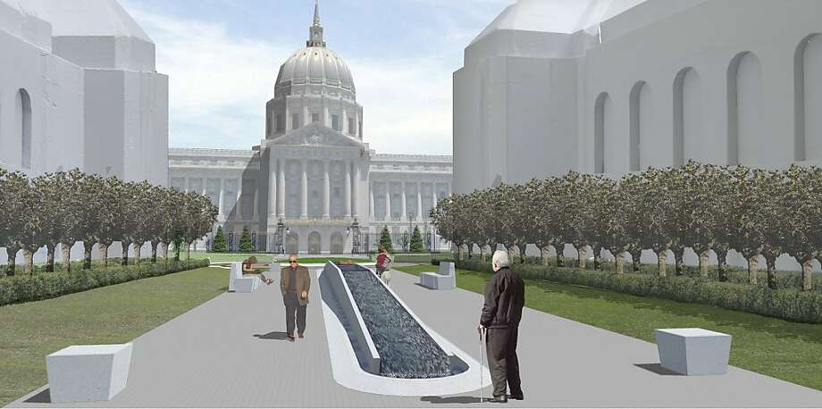 This entry by Larry Kirkland & J. Douglass Macy is one of three finalists selected in a competition to build a permanent memorial to San Francisco war veterans. Photo: Kirkland & Macy