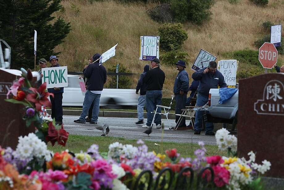 in colma cemetery workers picket over pay cuts sfgate