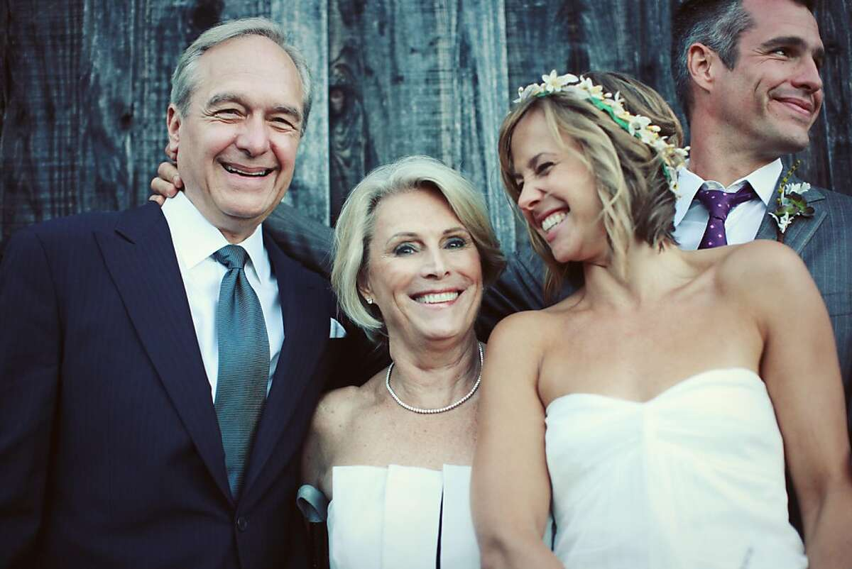 The wedding of the former Jori Adler and Dr. BJ Miller, in Inverness, Sept 11, 2010. Left to right, father Bruce Miller, mother Susan Miller, wife Jori and BJ Miller. Miller is a palliative care physician at UCSF.