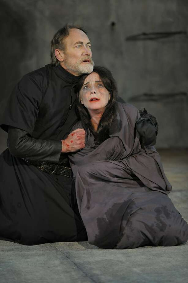 "Titus (James Carpenter) comforts his ravaged daughter Lavinia (Anna Bullard) in California Shakespeare Theater's ""Titus Andronicus) Photo: Kevin Berne"