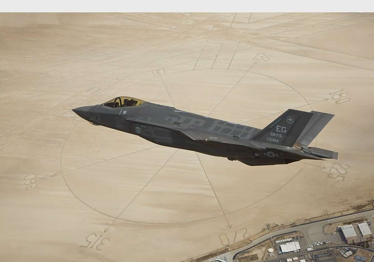 The second Lockheed Martin F-35A Lightning II production aircraft flies above the compass rose of Rogers Dry Lakebed at Edwards Air Force Base, Calif. The aircraft, designated AF-6, ferried to Edwards AFB from Naval Air Station Fort Worth Joint Reserve Base following the Air Force formally accepting the fighter into its inventory.
