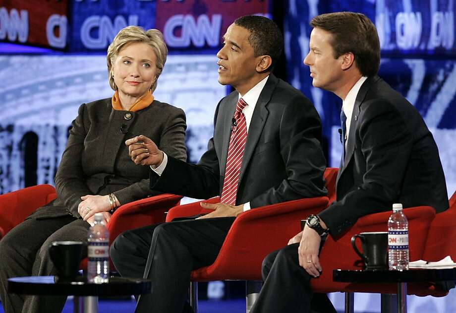 Democratic presidential hopefuls from left, Sen. Hillary Rodham Clinton, D-N.Y., Sen. Barack Obama, D-Ill., and former Sen. John Edwards, D-N.C., participate in a Democratic presidential debate in Myrtle Beach, S.C., Monday, Jan. 21, 2008. (AP Photo/Mary Ann Chastain) Photo: Mary Ann Chastain, AP