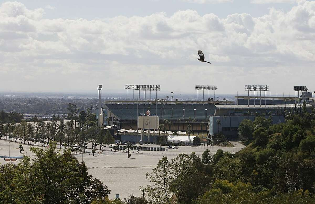 The Los Angeles Dodger stadium is seen from Elysian Park, Friday, April, 8, 2011. Bryan Stow, a 42-year-old San Francisco Giants fan, was severely beaten in the Dodgers' stadium parking lot after the team's home opener last week. He remains in critical condition showing signs of brain damage.