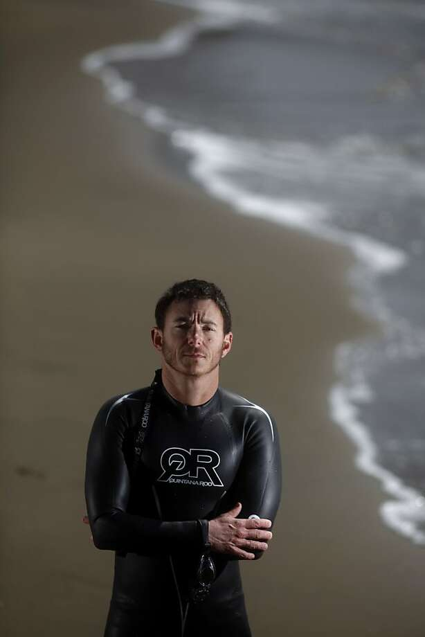 Loren Cannon, 47, a transgender man, stands for portrait at Aquatic Park days before swimming in the Escape from Alcatraz triathlon on Thursday May 6, 2011 in San Francisco. Cannon was once a top female triathletes and now is competing in San Francisco as a man for the second time. Photo: Mike Kepka, The Chronicle