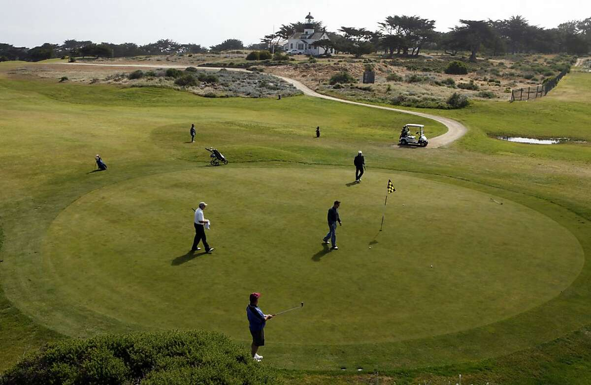 Golfers surround the 15th green at Pacific Grove Golf Links. Pacific Grove along with several other including Del Monte Golf Course in Monterey is some of the more affordable courses on the Monterey Peninsula. Friday, May 6, 2011.