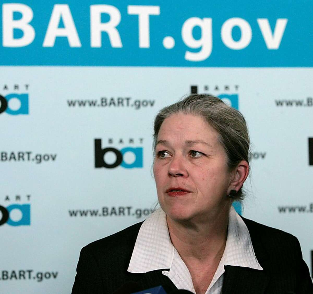 BART General Manager Dorothy Dugger fields questions from the media on the shooting death of Oscar Grant, at the BART headquarters in Oakland, Calif., Monday, Jan. 12, 2009. Grant was shot and killed by a BART police officer after an altercation on a train station platform in Oakland on New Year's Day. (AP Photo/Marcio Jose Sanchez)