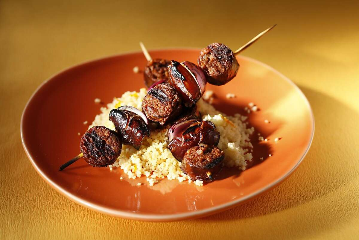 Chorizo and Date Skewers with Orange-Cinnamon Couscous as seen in San Francisco, California, on May 18, 2011. Food styled by Amanda Gold.