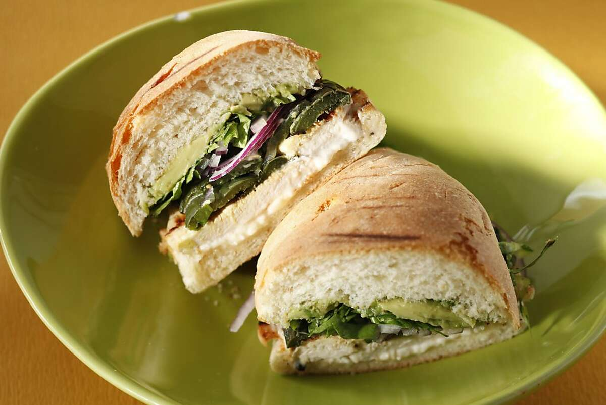 Chicken and poblano torta as seen in San Francisco, California, on May 18, 2011. Food styled by Amanda Gold.
