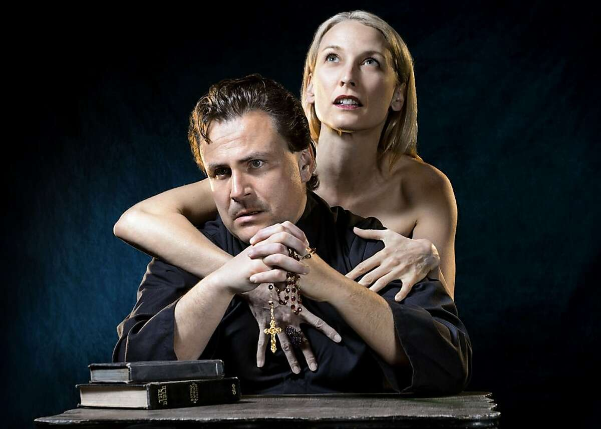"""Andrew Hurteau as Brother Julian and Carrie Paff as Alice in Marin Theatre Company's staging of Edward Albee's """"Tiny Alice"""""""