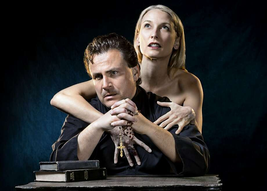 "Andrew Hurteau as Brother Julian and Carrie Paff as Alice in Marin Theatre Company's staging of Edward Albee's ""Tiny Alice"" Photo: Kevin Berne"