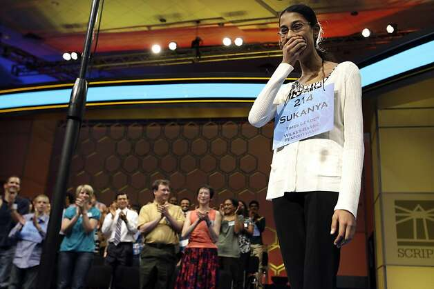 Sukanya Roy, 14, of South Abington Township, Pa., reacts after winning the National Spelling Bee, in Oxon Hill, Md. on Thursday, June 2, 2011. She won by spelling the word cymotrichous, which means wavy hair. Photo: Jacquelyn Martin, AP