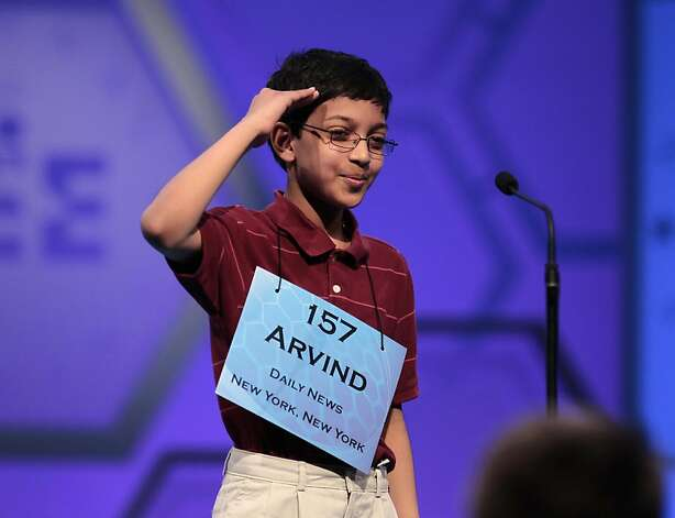 Arvind V. Mahankali, 11, of New York City salutes after spelling 'jugendstil' incorrectly during the finals of the 2011 Scripps National Spelling Bee at the Gaylord National Resort and Convention Center in Oxon Hills, Md., Thursday, June 2, 2011. Photo: Pablo Martinez Monsivais, AP