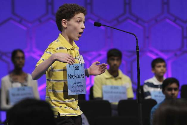 "Nicolas B. Rushlow, 13, from Lancaster, Ohio, reacts with surprise as he is told that he spelled his word, ""drusy,"" correctly, during the semifinals of the National Spelling Bee, in Oxon Hill, Md., Thursday, June 2, 2011. Photo: Jacquelyn Martin, AP"