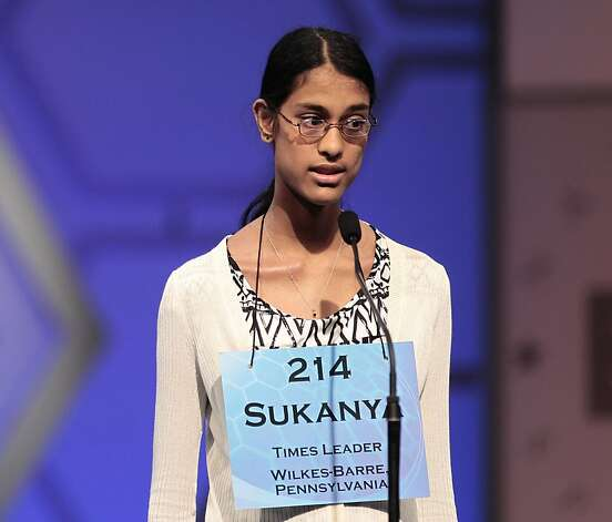Sukanya Roy, 14, of Wilkes-Barre, Pa., spells during the finals of the 2011 Scripps National Spelling Bee at the Gaylord National Resort and Convention Center in Oxon Hills, Md., Thursday, June 2, 2011. Photo: Pablo Martinez Monsivais, AP