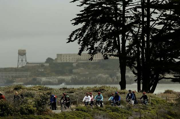 Cyclists wheel along the shoreline pathway at Crissy Field, in San Francisco, Ca., on Friday May 27, 2011, as the recreation area gets ready to celebrate the 10th anniversary of it's restoration. Photo: Michael Macor, The Chronicle