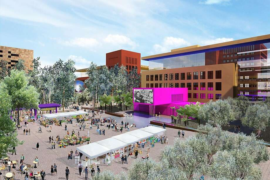 The design for the proposed Salesforce campus in Mission Bay envisions a colorful collection of compact buildings grouped around public plazas. The central space would be large enough for public markets and outdoor film presentations.The architect is Legorreta + Legorreta. Photo: Flad Architects
