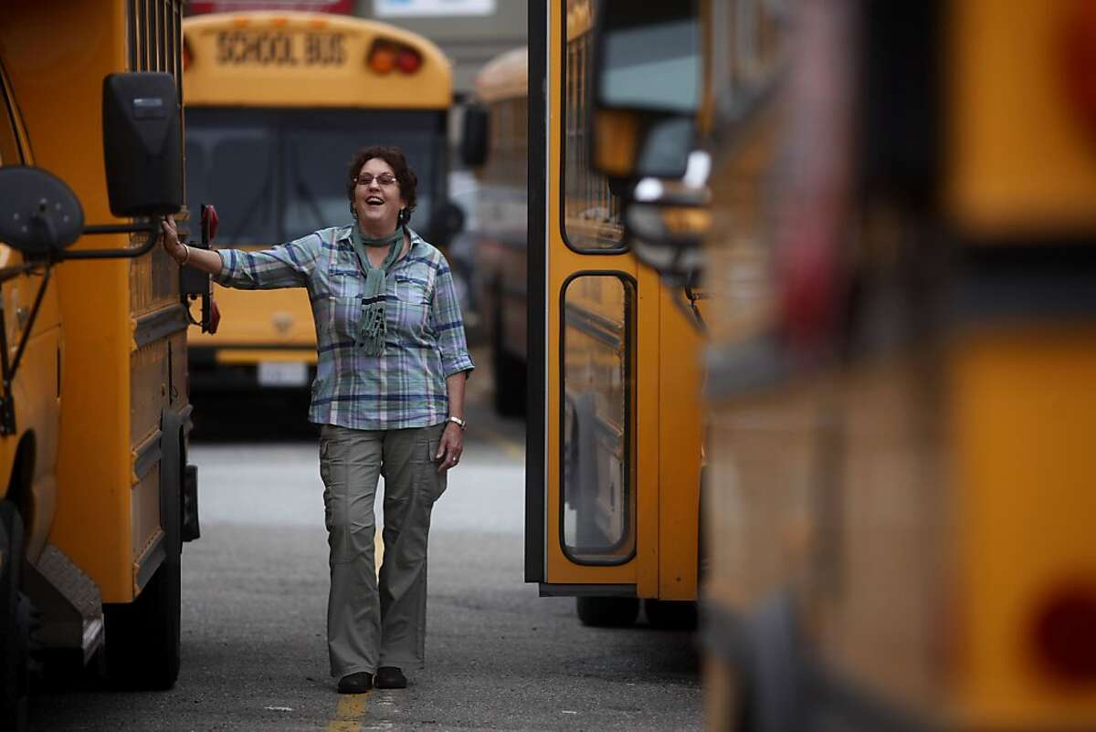 Barbara Donovan, who has been driving a school bus in San Francisco for 40 years, stands for portrait at the First Student bus depot on Wednesday May 25, 2011 in San Francisco, Calif.